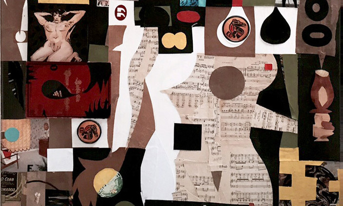 "Big Oh's Two, 32""h. x 46""w., mixed media collage, 2015"